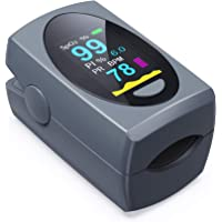 Pulse Oximeter Fingertip, Digital Blood Oxygen Saturation Monitor for Heart Rate Monitor and SpO2 Levels, Portable OLED…