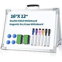 "Small Dry Erase Whiteboard, Ohuhu 12""X16"" Magnetic Desktop Foldable Whiteboard, Double-Sided Portable Mini Easel Board…"