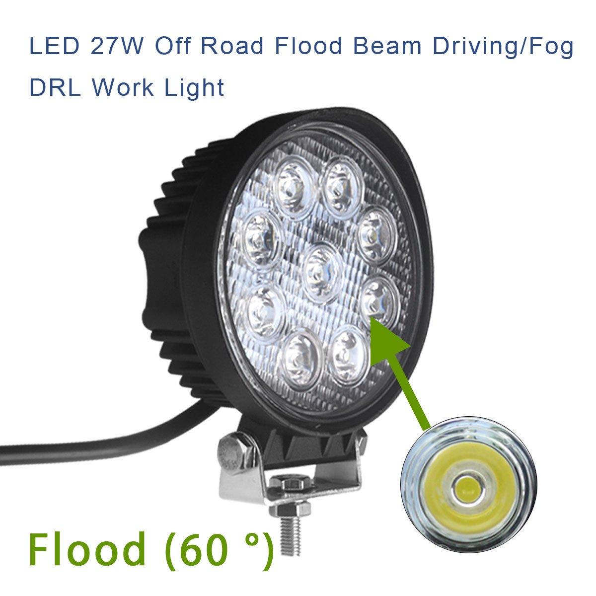 LED Light Bar LEDKINGDOMUS 4X 27W 4 LED Light Pod Flood Round Work Light Offroad Light Led Fog Light Truck Light Driving Light Boat Lighting for Truck Pickup SUV ATV UTV,2 Years Warranty