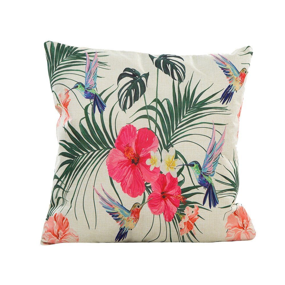 Pgojuni Flowers Grass Pattern Cushion Cover Throw Pillow Cover Accent Cushion Cover Square Pillow Case for Sofa/Car/Bed Home Decor 1pc (C)