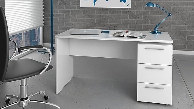 HABITMOBEL Mesa de despacho 3 cajones, Color Blanco Brillo ...
