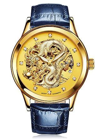 Esopo Suiza relojes hombres marca automático mecánico luminoso reloj hueca Golden reloj (azul)