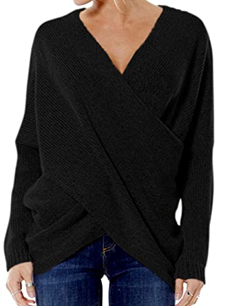 Choies Women s Black Wrap Criss V-Neck Drop Shoulder Basic Knit Sweater S 0b61778aefb2