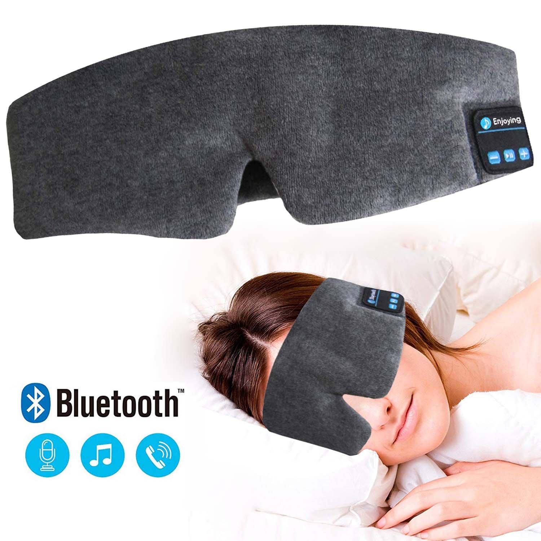 Luckyu - Máscara de Dormir con Bluetooth para Auriculares con micrófono, inalámbrico, Bluetooth, para Dormir, estéreo, Manos Libres, Parche Ajustable ...