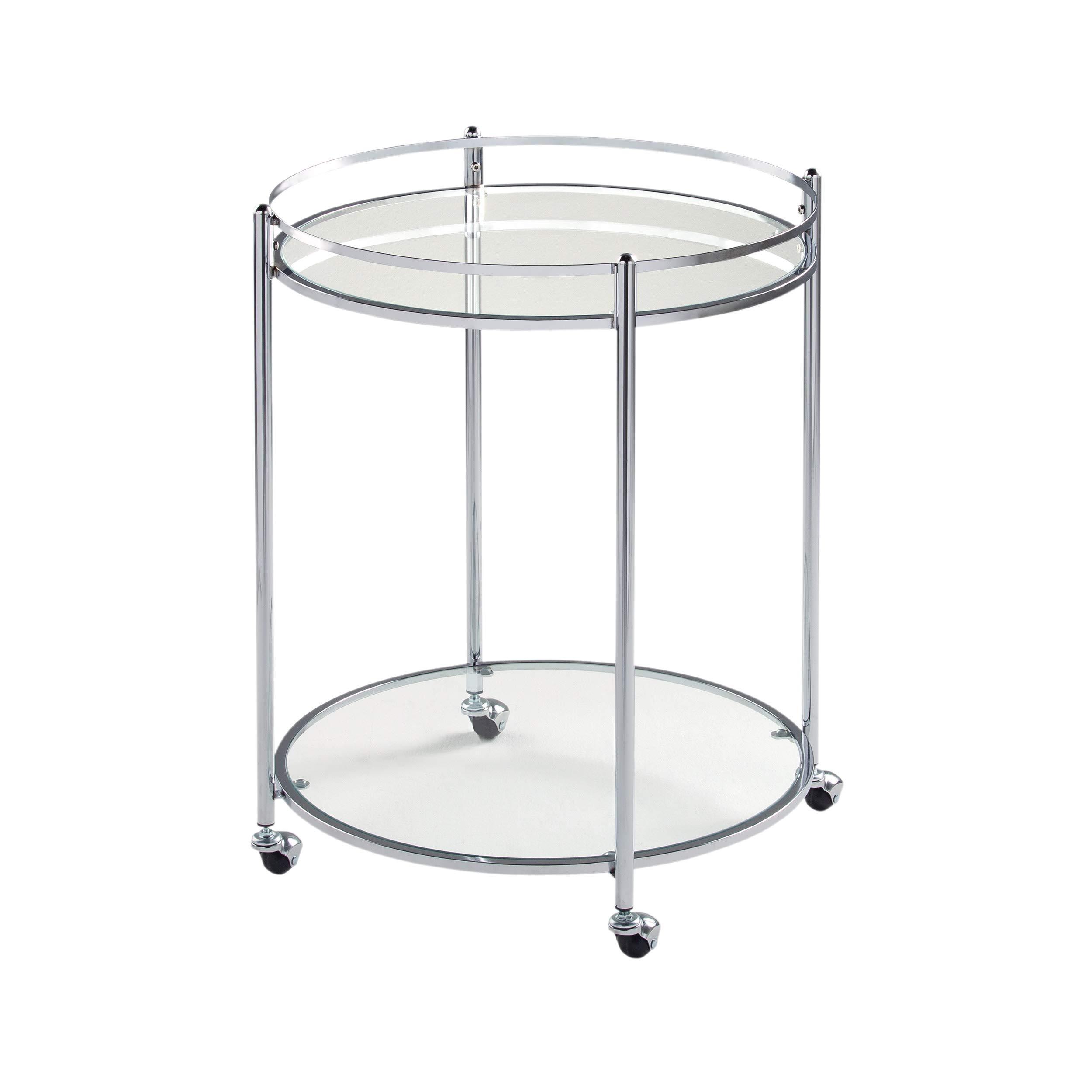 Studio Designs Home Veranda Bar Round Cart In Chrome with Clear Glass 71006 by Studio Designs Home