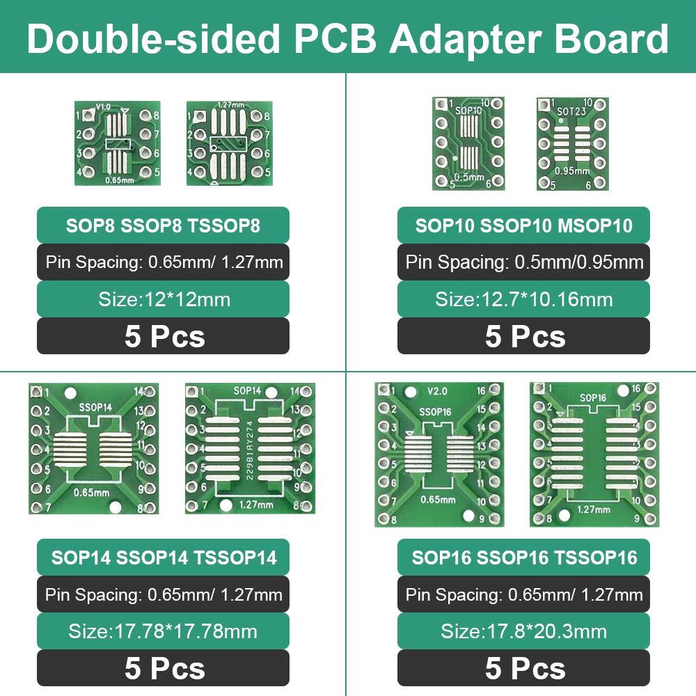 proyectos electr/ónicos y adaptador TQFP//SOP//SSOP//TSSOP//MSOP a DIP de doble cara RMENOOR Juego de 40 adaptadores de PCB SMD a DIP adaptador de doble cara para pruebas t/écnicas de bricolaje