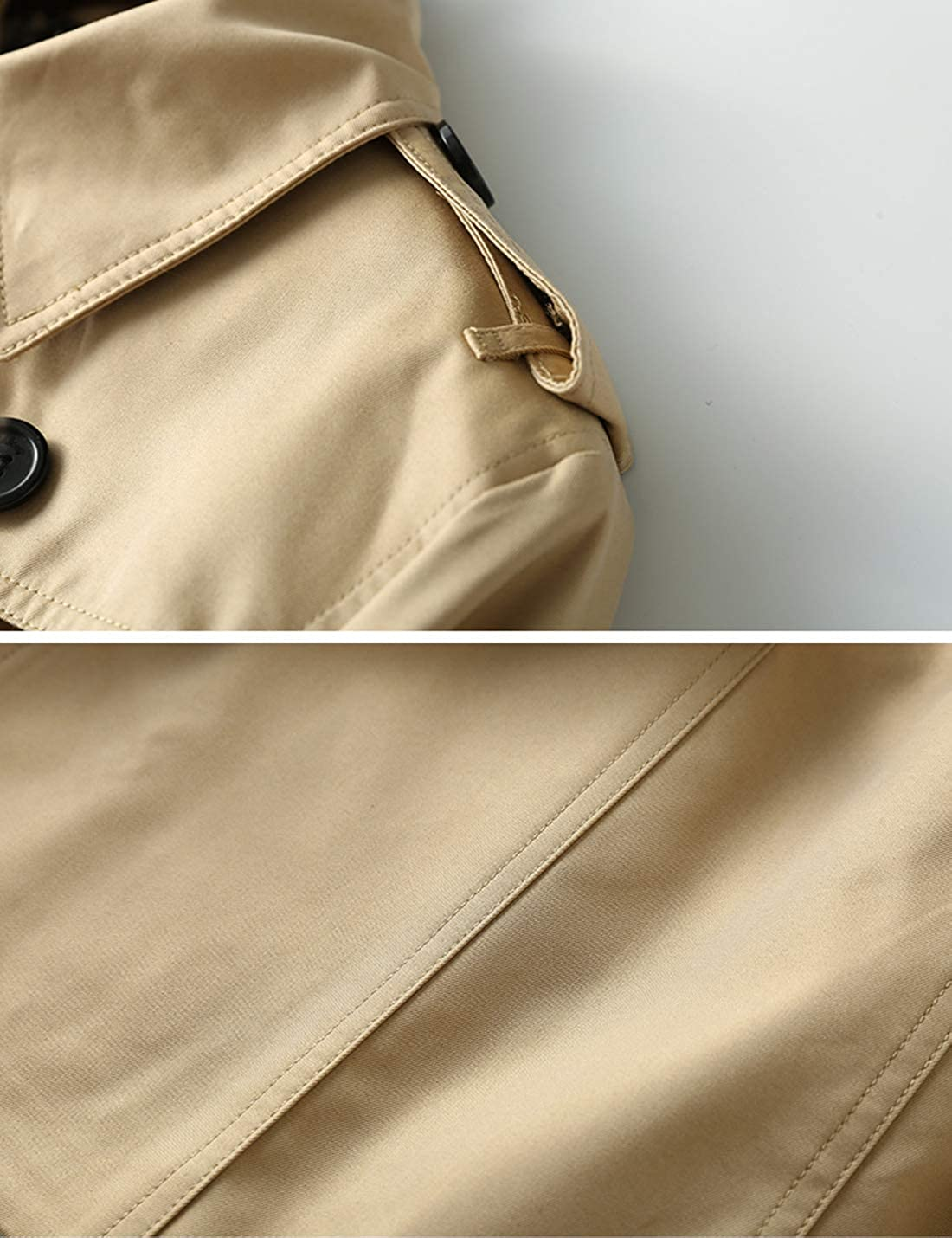 Liengoron Womens Classic Long Sleeve Double Breasted Lapel Windbreaker Jacket