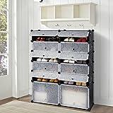 12-Cube DIY Shoe Rack Modular Organizer Plastic Cabinet by LANGRIA 6 tier Shelving Bookcase Cabinet Closet Black (12 - Regular Cube)