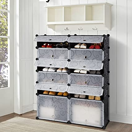 12 Cube DIY Shoe Rack Modular Organizer Plastic Cabinet By LANGRIA 6 Tier  Shelving Bookcase