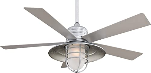 Minka-Aire F582-GL Downrod Mount, 5 Silver Pewter Blades Ceiling fan with 58 watts light, Galvanized