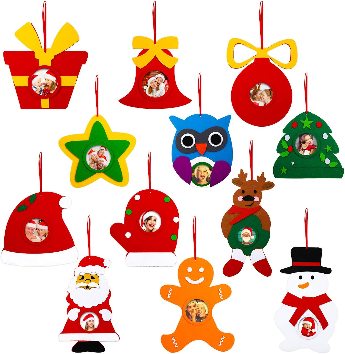 Jetec 12 Sets Christmas Picture Frame Craft Kits Felt Photo Ornament Frames for Hanging on Christmas Trees Crafts, Kids and Home Activities