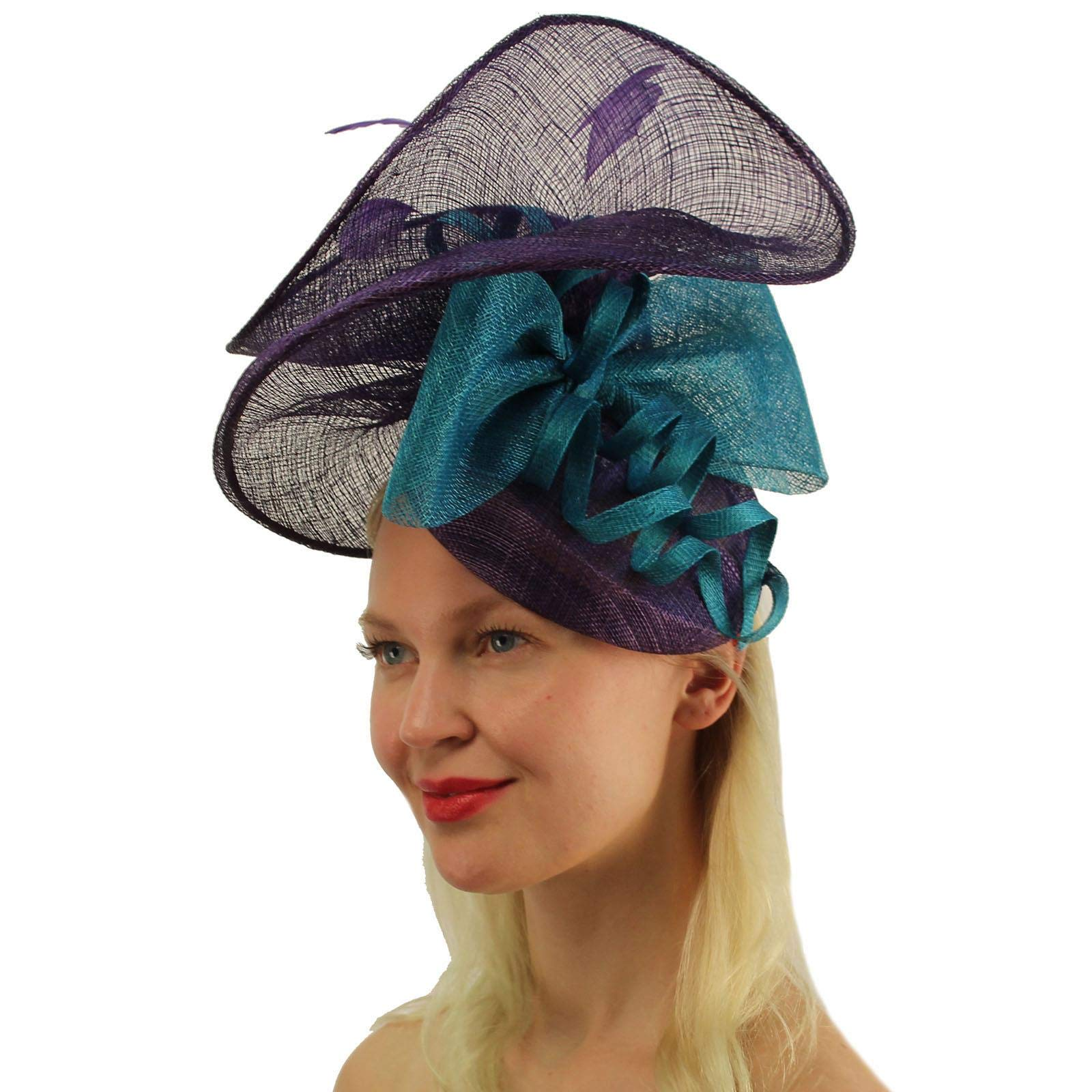 Fancy Sinamay Feathers Fascinators Headband Bridal Cocktail Derby Cap Hat Purple