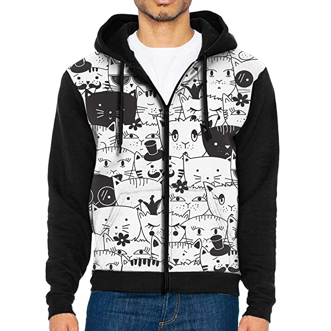 2c2a76034b4f Mens Pullover Hood Cats Pattern Zip Hoodies Hooded Classic Jackets Coats at  Amazon Men s Clothing store