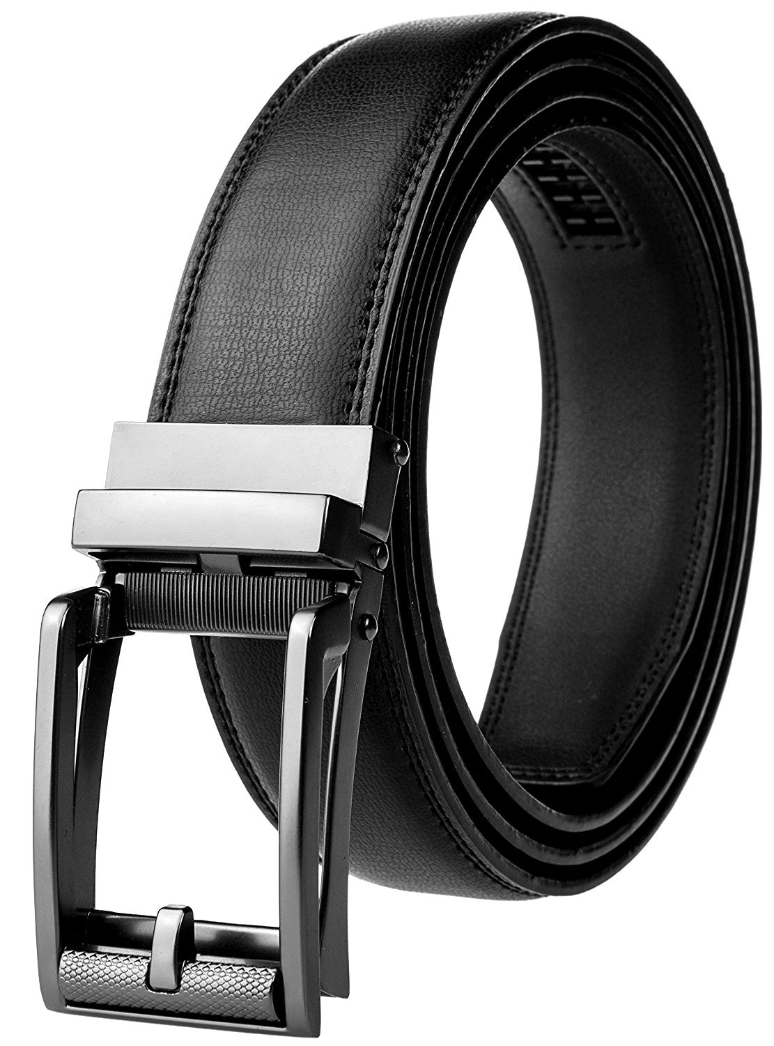 M. Bettino Mens Leather Ratchet Dress Belt With Open Linxx Buckle, Waist Size Up to 46'' with Automatic Buckle