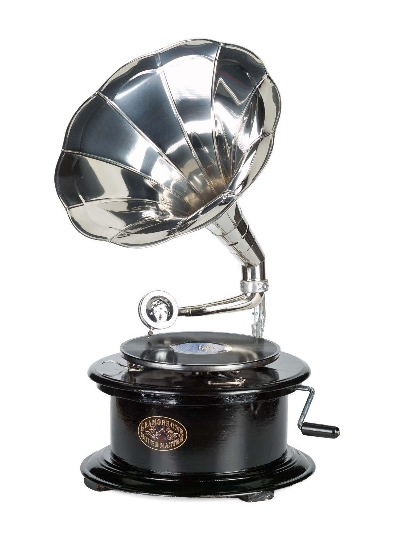 Grammophon 4-eckig Trichter Gramofon Phonograph Schellackplatten Gramophone Top Grammophone