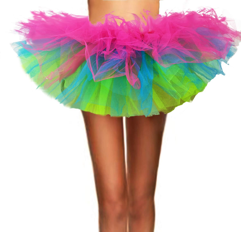 ASSN Women's Classic 80s Mini Puffy Tutu Halloween Run Bubble Ballet Skirt 6-Layered Rainbow Plus