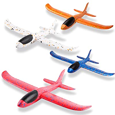 WATINC 4Pcs 14.5inch Airplanes, Manual Throwing Outdoor Sports Toys for Challenging, Children Games Toy Gliders Fun, Glider Plane for Kids, Birthday Gift Flying Gliders, Foam Airplane for Boys & Girls: Toys & Games