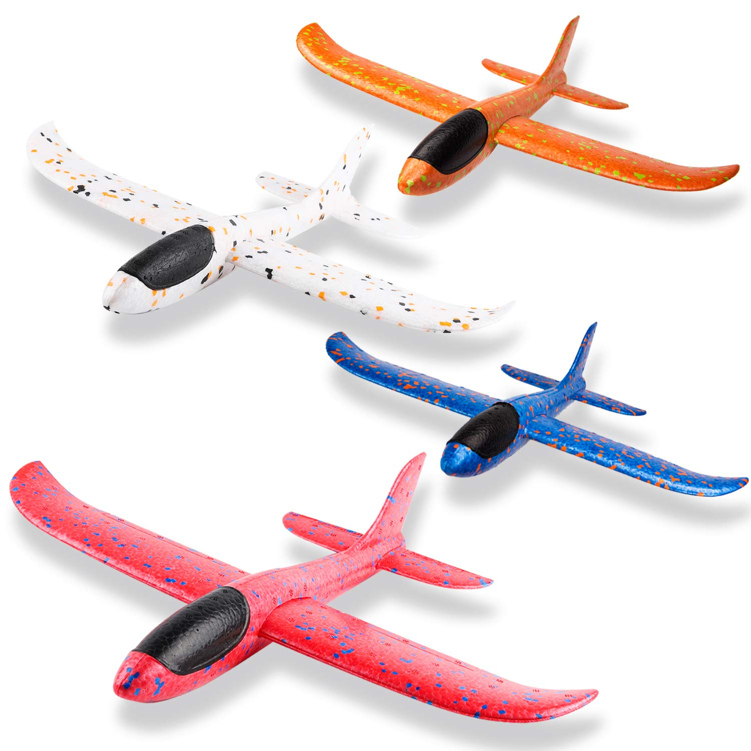 WATINC 4Pcs 14.5inch Airplanes, Manual Throwing Outdoor Sports Toys for Challenging, Children Games Toy Gliders Fun, Glider Plane for Kids, Birthday Gift Flying Gliders, Foam Airplane for Boys & Girls by WATINC