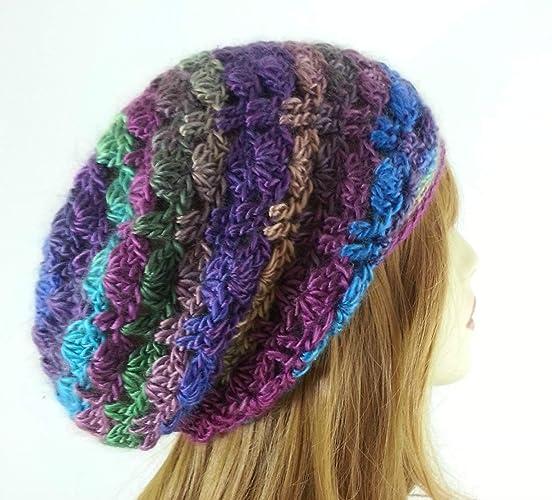 31ddfa1a3a5 Amazon.com  Slouchy Beanie Hat for Women Multicolor Lightweight Boho  Handmade USA  Handmade
