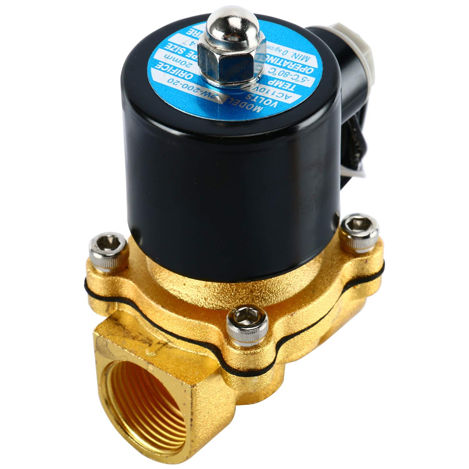 3//4 Brass Homend 3//4 NPT AC110V Brass Electric Solenoid Valve Normally Closed Water Oil Air Gas Two-Position Two-Way Solenoid Valve