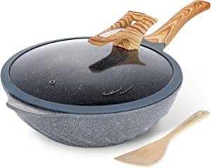 Chinese Wok Nonstick Die-casting Aluminum Dishwasher Safe Scratch Resistant PFOA Free Induction Woks And Stir Fry Pans with Glass Lid 12.6Inch,5.9L,5.6lb - Grey
