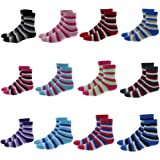 Packs Of 6 & 12 Pairs: Extremely Soft Womens Fuzzy Fashion Cozy Slipper Socks Packs