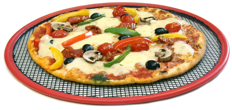 Reusable Oven Cooking Non-Stick Pizza Mesh Crisper x 2 Black