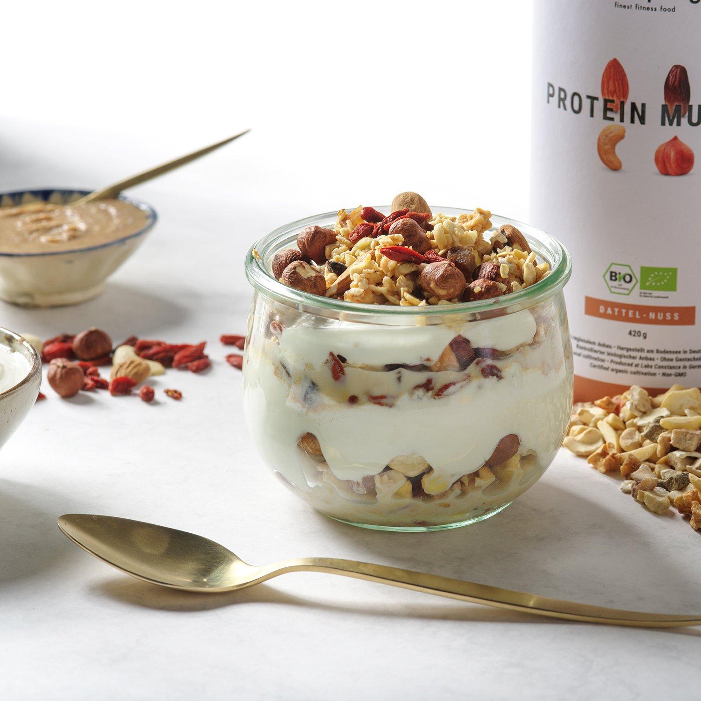 foodspring Muesli Proteico, 420g, Dátiles-Frutos secos, Muesli proteico con finos copos de soja, 100% calidad orgánica: Amazon.es: Alimentación y bebidas