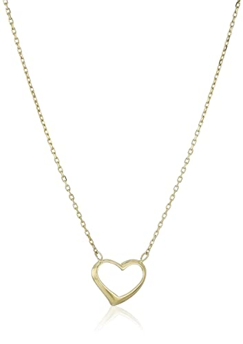 Amazon 14k yellow gold heart necklace 18 jewelry 14k yellow gold heart necklace 18quot aloadofball Choice Image