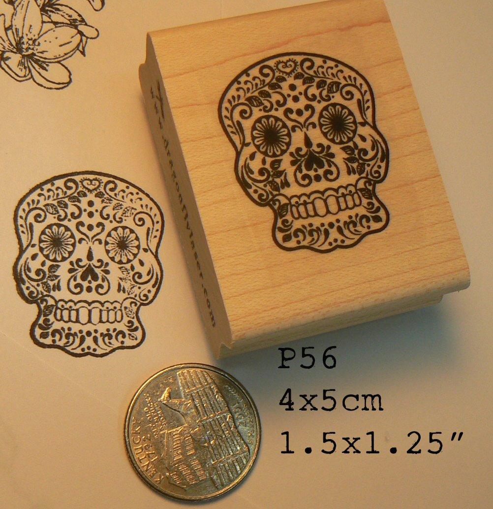 Amazon Sugar Skull Rubber Stamp P54 Arts Crafts Sewing