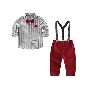 Sunonvi Conjunto de Ropa para niños 2 Piezas Camisa + Overol ...