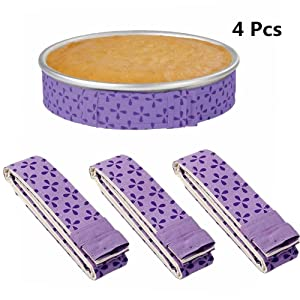 4-Piece Bake Even Strip,Cake Pan Strips,Cake Pan Dampen Strips,Cake Pan Strips, Super Absorbent Thick Cotton,Keeps Cakes More Level and Prevents Crowning with Cleaner Edges for a Professional Look