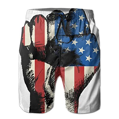 Men's Quick Dry Swim Trunks American Fist Board Shorts With Pockets