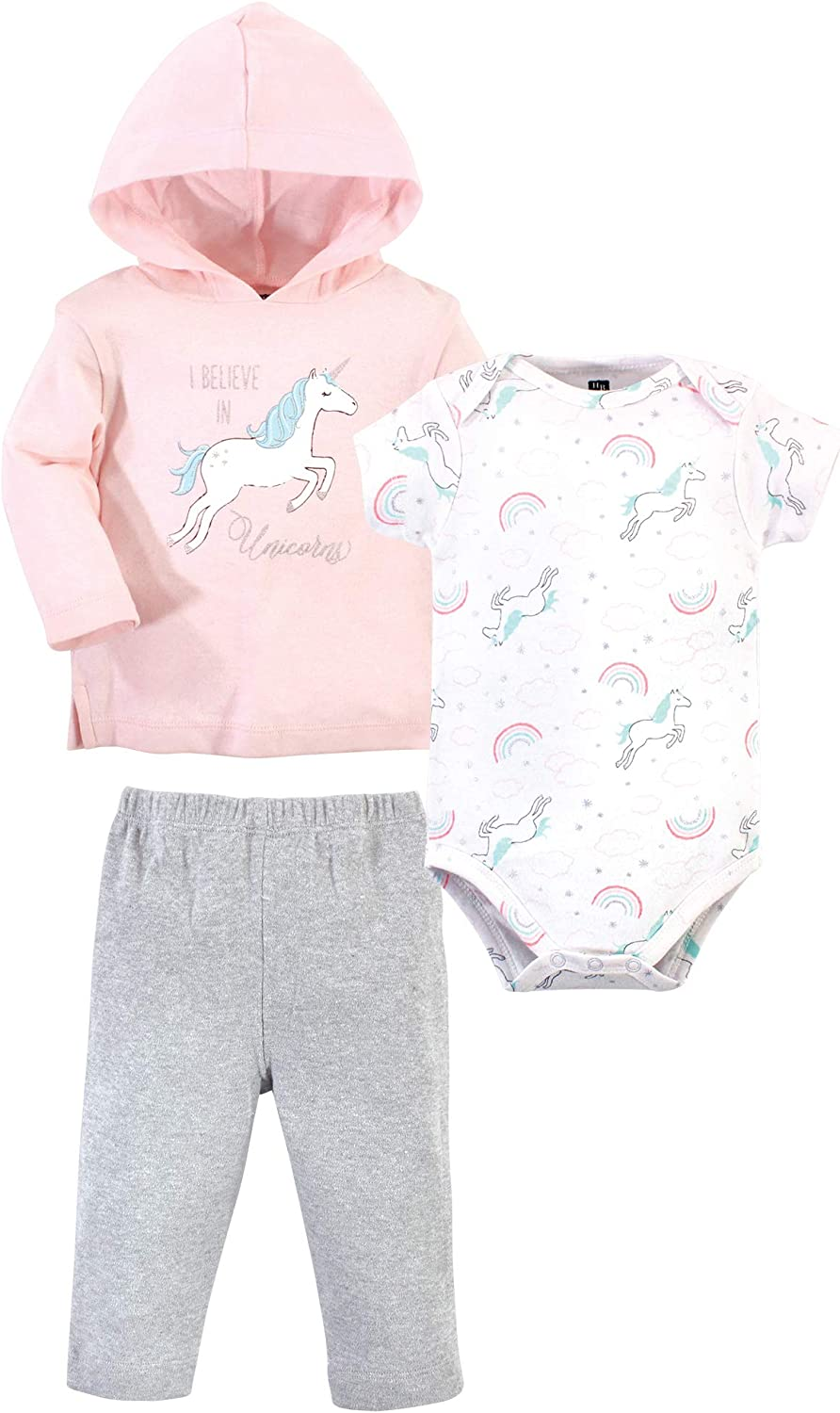 Hudson Baby Baby Girls' Cotton Hoodie, Bodysuit Or Tee Top and Pant Set