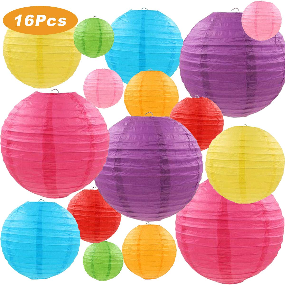 """LURICO 16 Pcs Colorful Paper Lanterns (Multicolor,Size of 4"""", 6"""", 8"""", 10"""") - Chinese/Japanese Paper Hanging Decorations Ball Lanterns Lamps for Home Decor, Parties, and Weddings"""