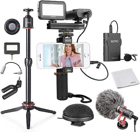 Movo - Kit de vídeo para smartphone V8 con grifo de agarre, inalámbrico/escopeta/mini y micrófonos