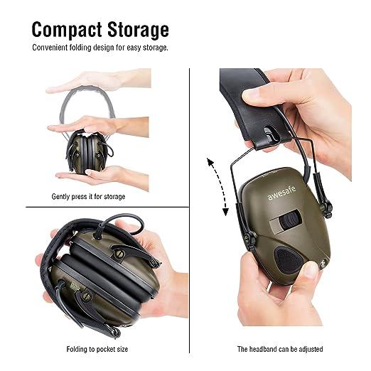 Orejera de tiro electrónico [Viene con una bolsa de estuche de almacenamiento de viaje duro], awesafe GF01 + Reducción de ruido Amplificación de ...