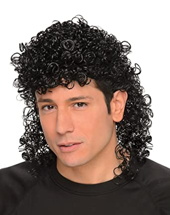 Black Curly 80s Mullet Wig Mens Fancy Dress Rocker Band Adults ... 22b2e80f51b4