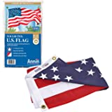 Annin Flagmakers 2720 American Flag Tough-Tex The Strongest, Longest Lasting, 4x6 ft, 100% Made in USA with Sewn Stripes, Emb