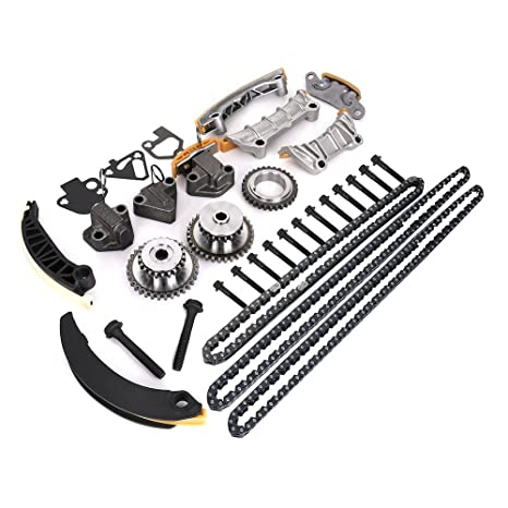 Engine Timing Chain Kit w/Chain Guide Tensioner Sprocket for Buick Enclave  Lacrosse Cadillac CTS SRX Chevy Equinox Malibu Traverse GMC Acadia Replace