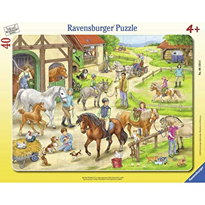 Ravensburger Frame Puzzle 06164 On The Horseyard, Multicoloured: Toys & Games