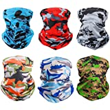 6 Pieces Sun UV Protection Face Mask Neck Gaiter Windproof Scarf Sunscreen Breathable Bandana Balaclava