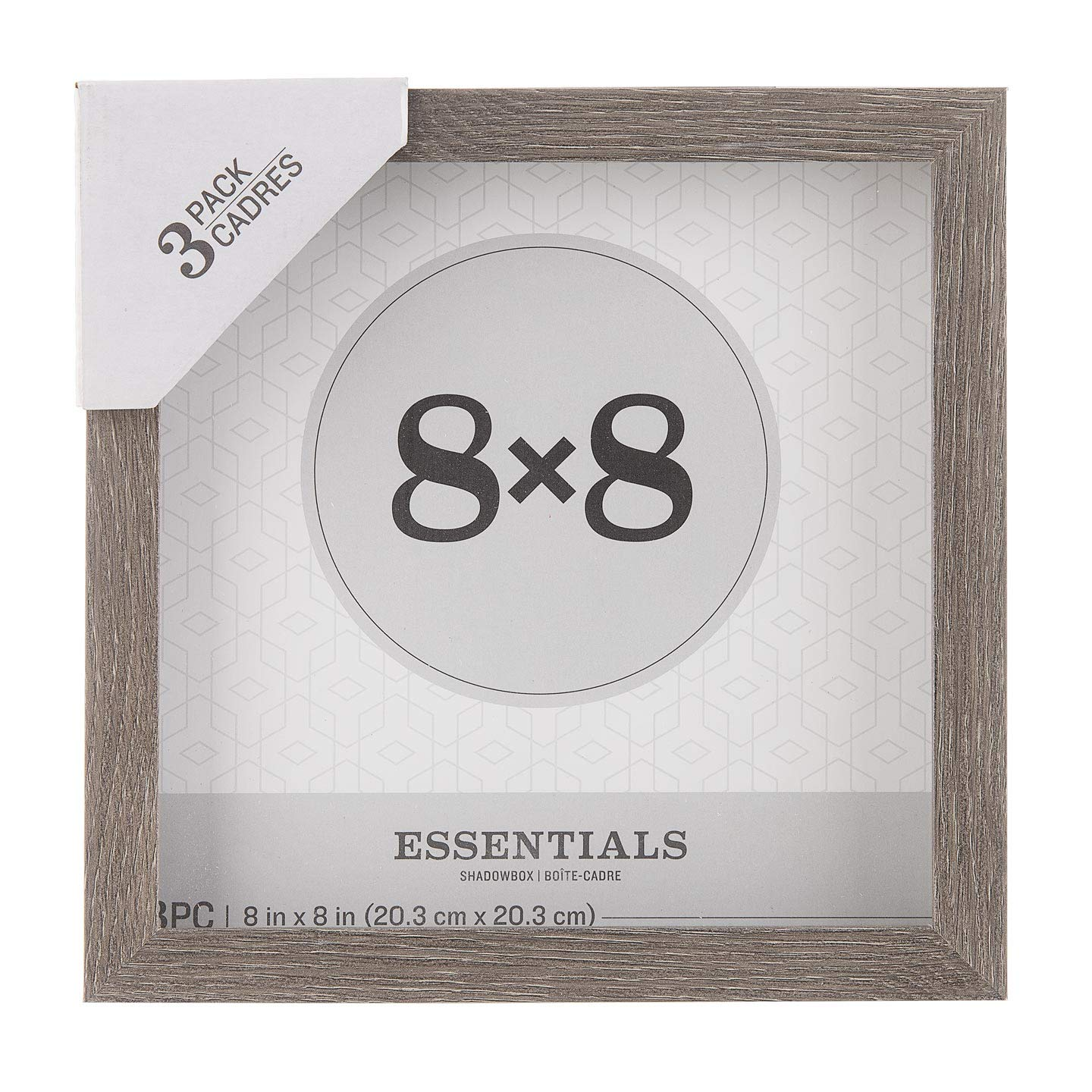 Darice Essentials Gray 8 x 8 inches, 3 Pieces Shadow Box, by Darice