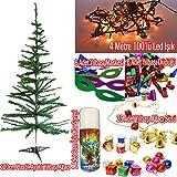 Yılbaşı Çam Ağacı+35 Ağaç Süsü+Led Ağaç ışığı+Kar Spreyi+Gözlük