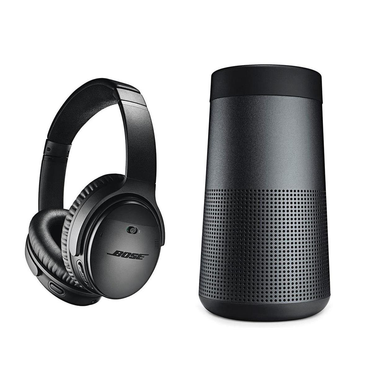 Bose QuietComfort 35 Wireless Headphones II with Microphone, Noise Cancelling, Black - With Bose SoundLink Revolve Bluetooth Speaker, Triple Black
