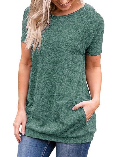 ec86e59b765 Uniboutique Womens Short Sleeve Casual Loose Tunic T Shirts Tops Dark Green  Small