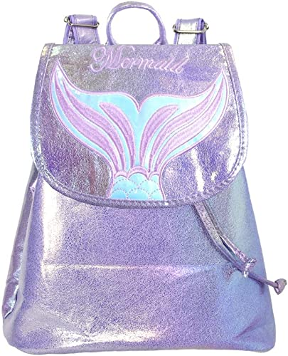 Me Plus Women Teen Mermaid Iridescent Holographic Fashion Rucksack Backpack Mermaid-Lavender