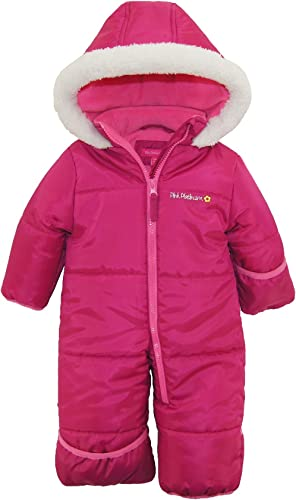 Pink Platinum Baby Girls' One-Piece Puffer Winter Snowsuit in pink