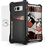 Galaxy S8 Plus Wallet Case, Ghostek Exec Series for Samsung Galaxy S8 Plus Slim Armor Hybrid Impact Bumper | TPU PU Leather Credit Card Slot Holder Sleeve Cover | Screen Protector | Ultra Fit (Black)
