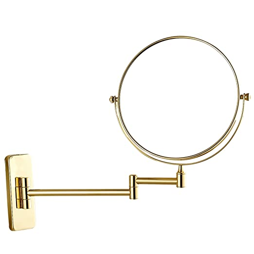 GURUN 8-Inch Double-Sided Wall Mounted Makeup Mirror with 10x Magnification,Gold Finish M1406J(8in,10x)